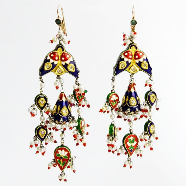 Large Pair of 18 Karat Yellow Gold, Multi Color Enamel, Rose Cut Diamond and Seed Pearl Reversible Chandelier Earrings