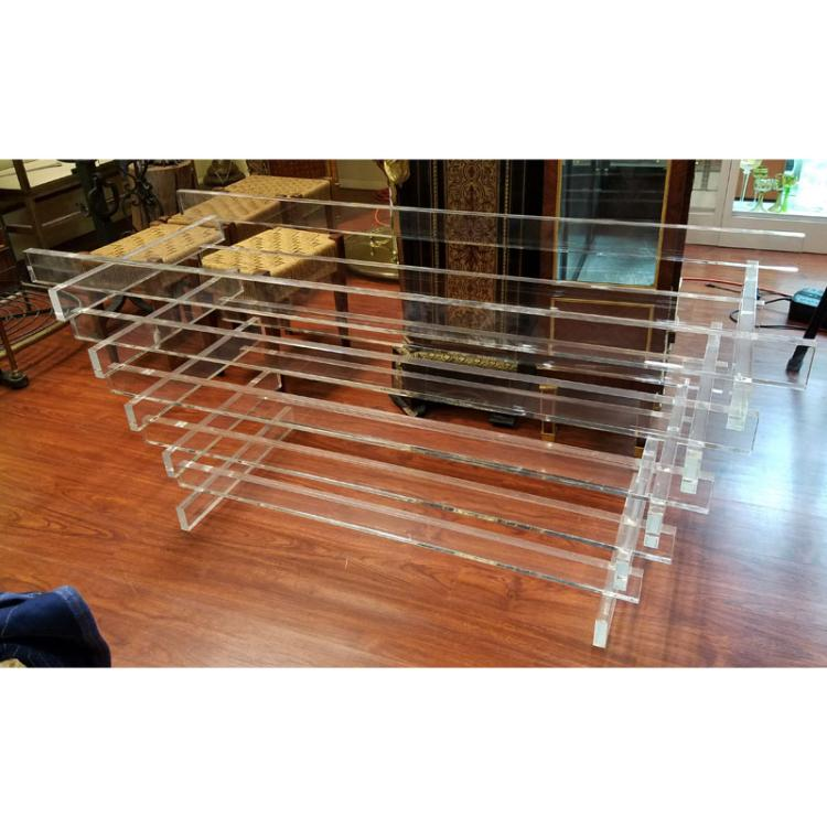 Modern Lucite Stacked Table Base. Glass top is available.