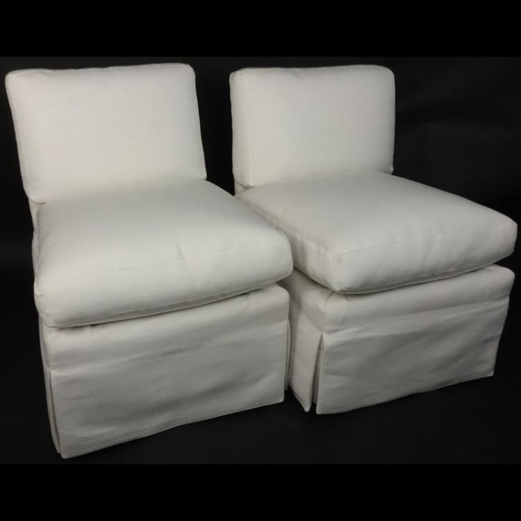 Pair of Mid Century White Upholstered Slipper Chairs
