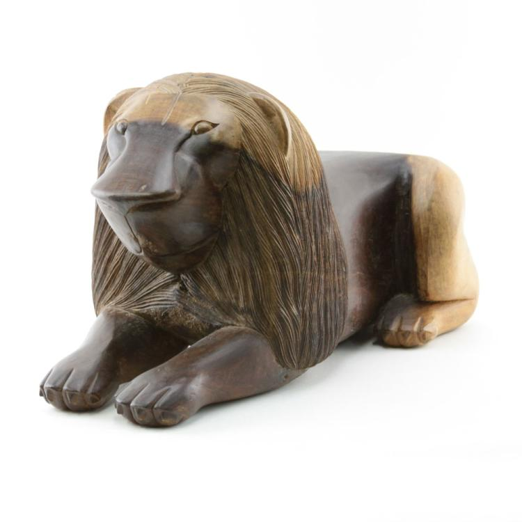 Antonio Juliao, Brazilian (20th Century) Folk Art Wood Carving of a Jacaranda Lion