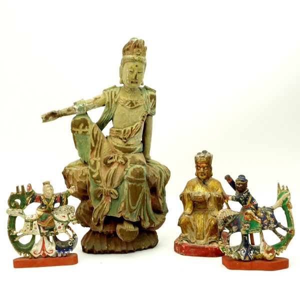 Lot of Four (4) Chinese Carved Wood Polychrome Figures