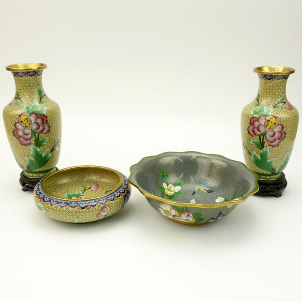 Lot of Four (4) Vintage Cloisonne Wares