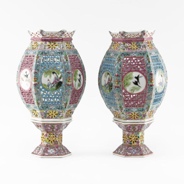 Pair Antique Chinese Famille Verte Enamel Porcelain Openwork Wedding Lanterns In Two Parts