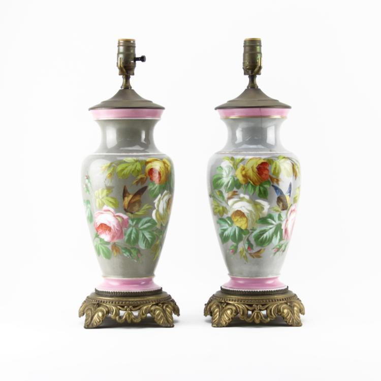 Pair of Antique Bronze Mounted Enameled Opaline Lamps
