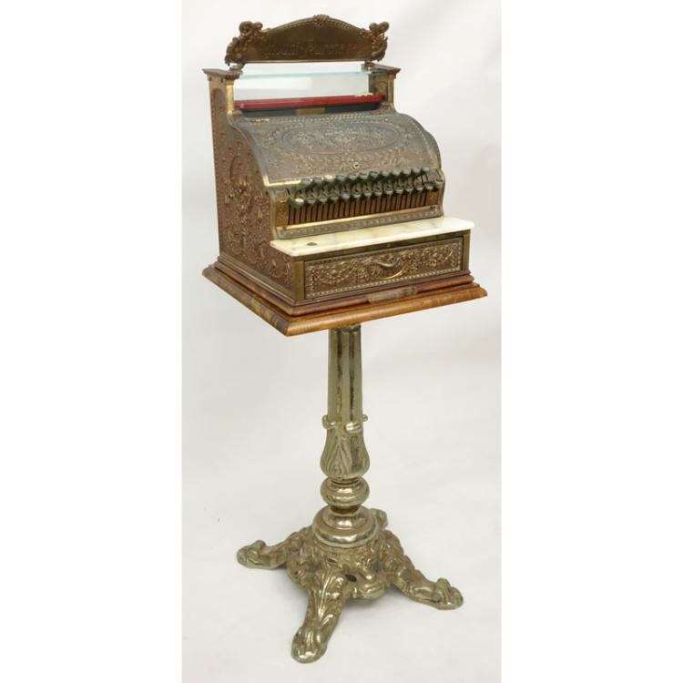 Antique Brass National Cash Register On Stand