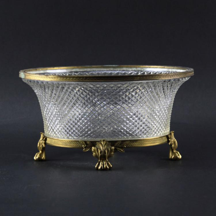 Antique France Baccarat Crystal and Gilt Bronze Oval Planter