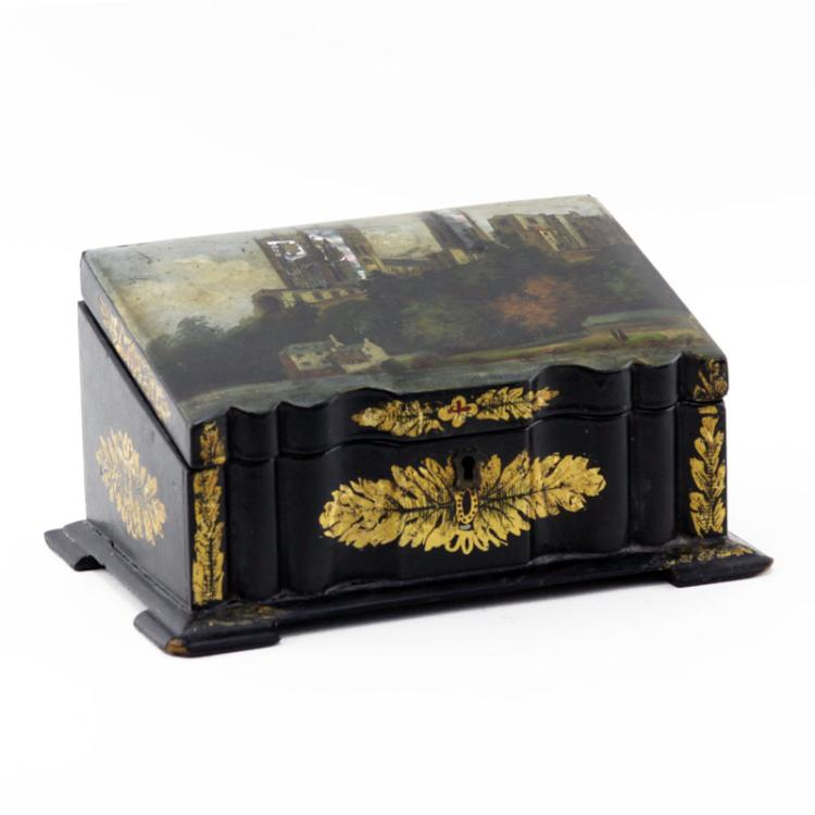19th Century English Lacquered Wood and Hand Painted Tea Caddie