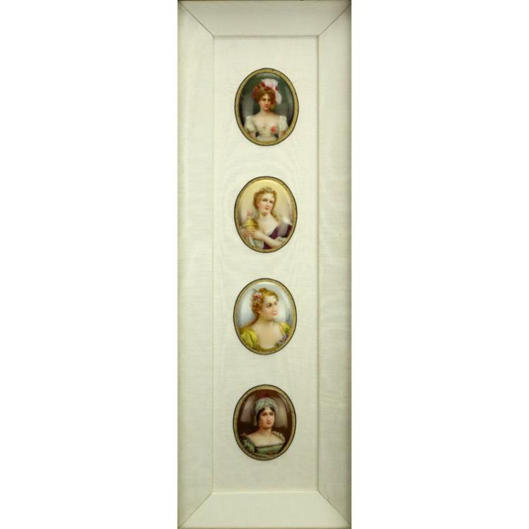 Collection of Four (4) 19/20th Century Hand Painted Porcelain Miniature Portraits in Shadowbox Frames