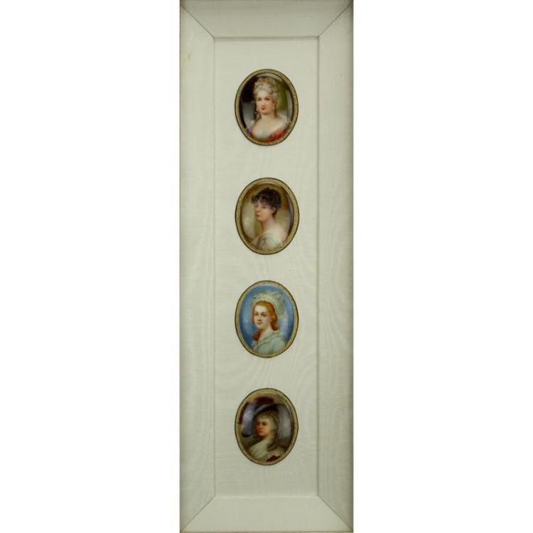 Collection of Four (4) 19/20th Century Hand Painted Porcelain Miniature Portraits in Shadowbox Frame