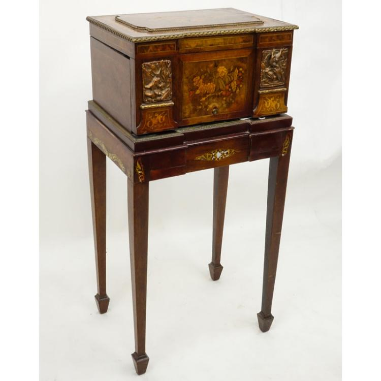 19/20th Century Burlwood Bronze Mounted Painted Jewelry Chest
