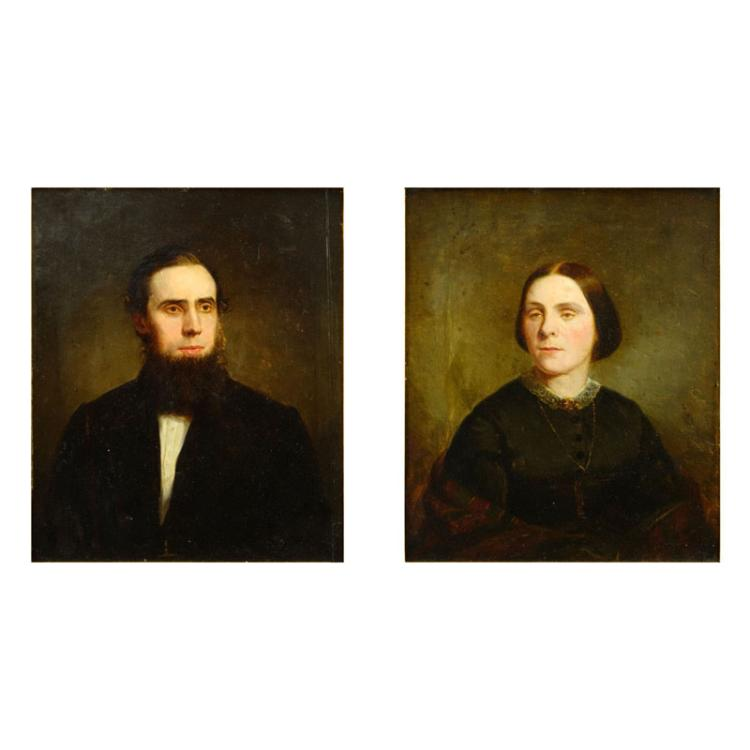 Pair of 19th Century Oil On Board Portraits Of A Man and Woman