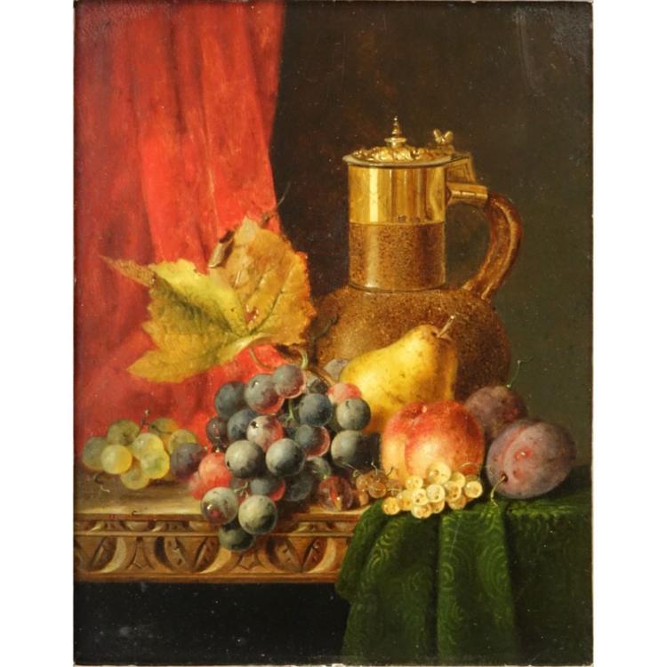 Edward Ladell, English (1821-1886) Antique Still Life Oil on Panel