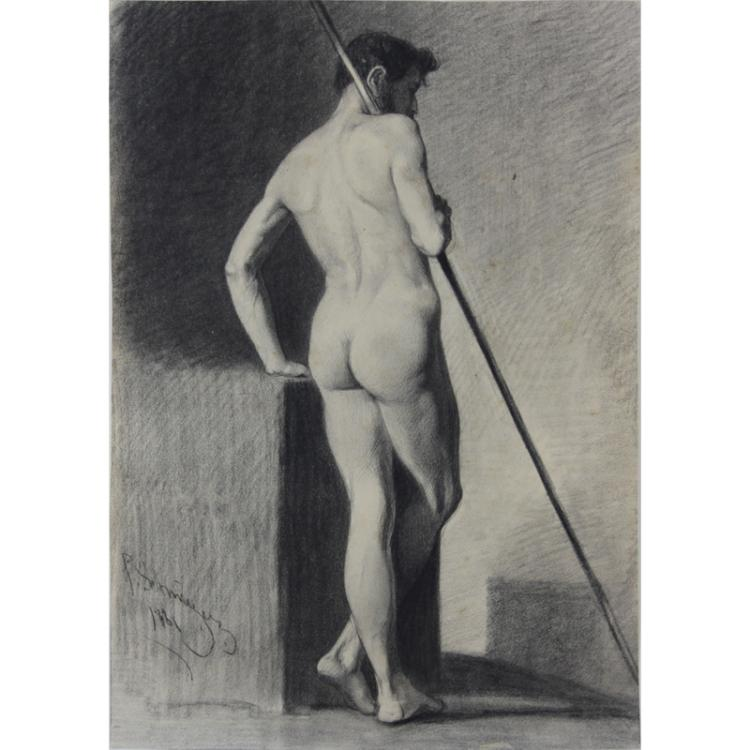 19th Century Charcoal and Pencil Drawing