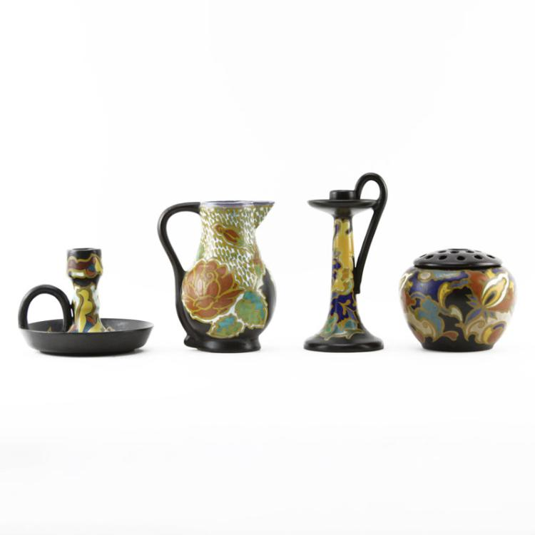 Grouping of Four (4) Gouda Semi-Matte Faience Pottery