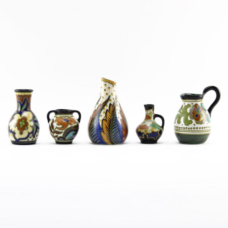 Grouping of Five (5) Gouda Semi-Matte Faience Pottery