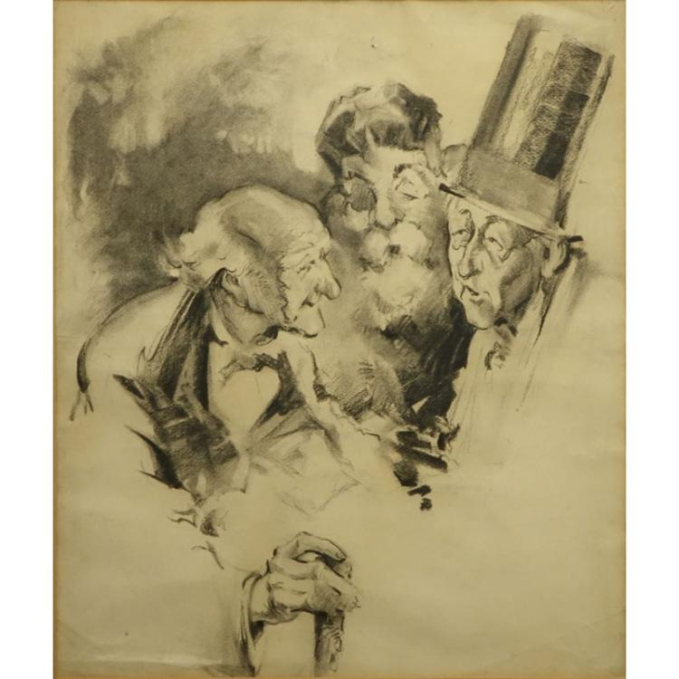 Early 20th Century Charcoal on Paper Illustration