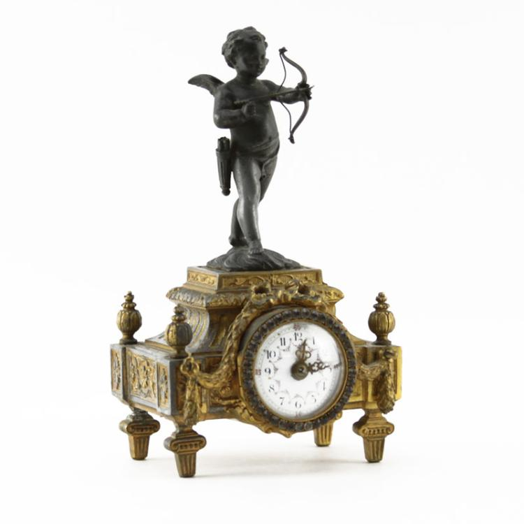 Early 20th Century French White Metal Clock with Cherub Finial
