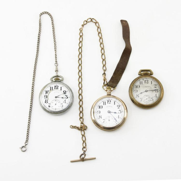 Grouping of Three (3) Antique Railroad Pocket Watches