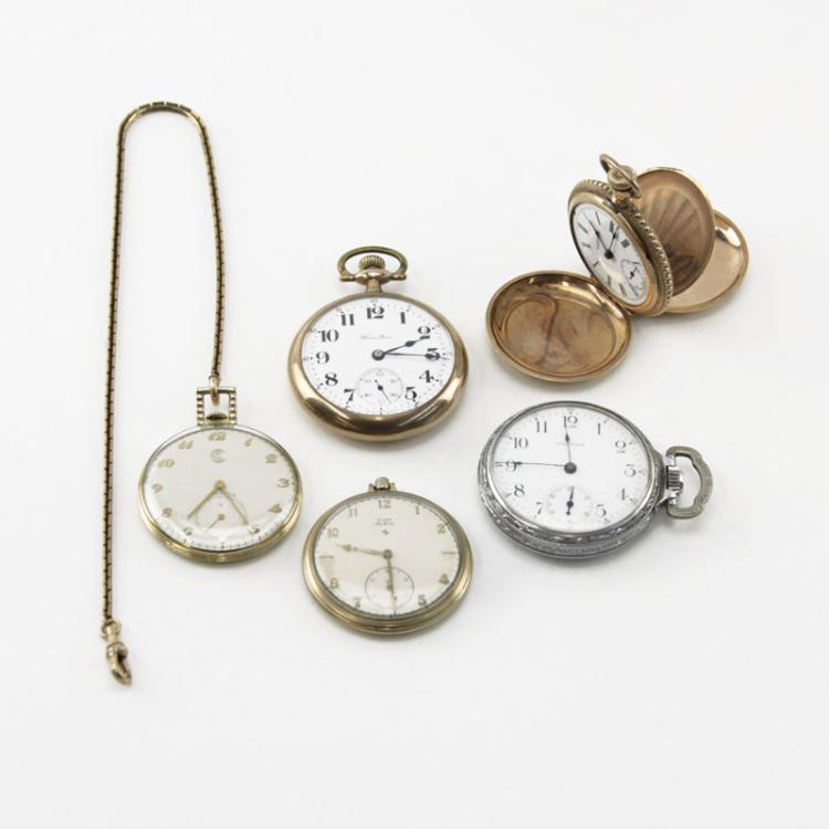 Grouping of Five (5) Vintage to Antique Pocket Watches