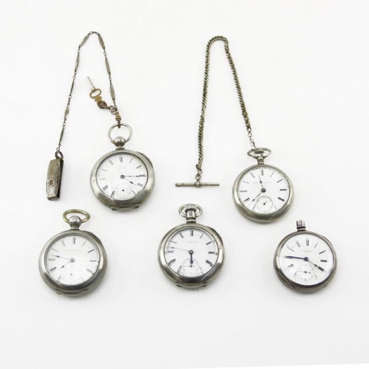 Grouping of Five (5) Antique or Vintage Open Face Pocket Watches