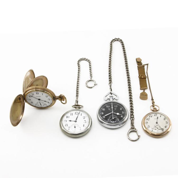 Grouping of Four (4) Antique to Vintage Pocket Watches and Stop Watch