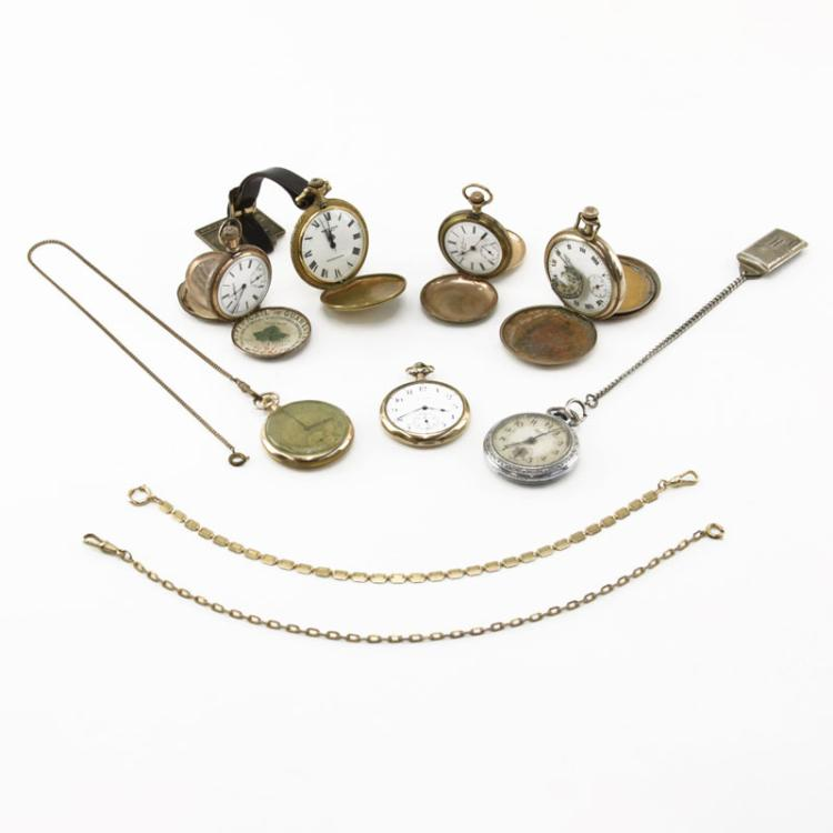 Grouping of Seven (7) Antique to Vintage Pocket Watches