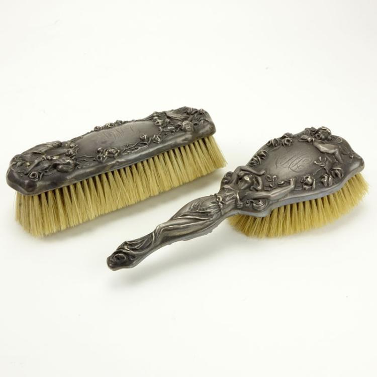Two (2) Art Nouveau Period Sterling Silver Brushes