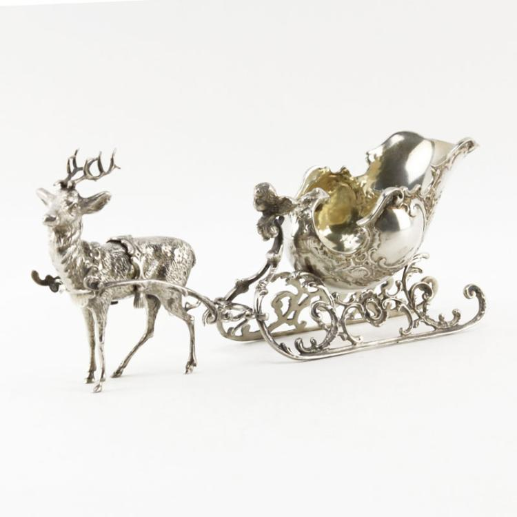 Continental 800 Silver Reindeer Sled/Gravy Boat
