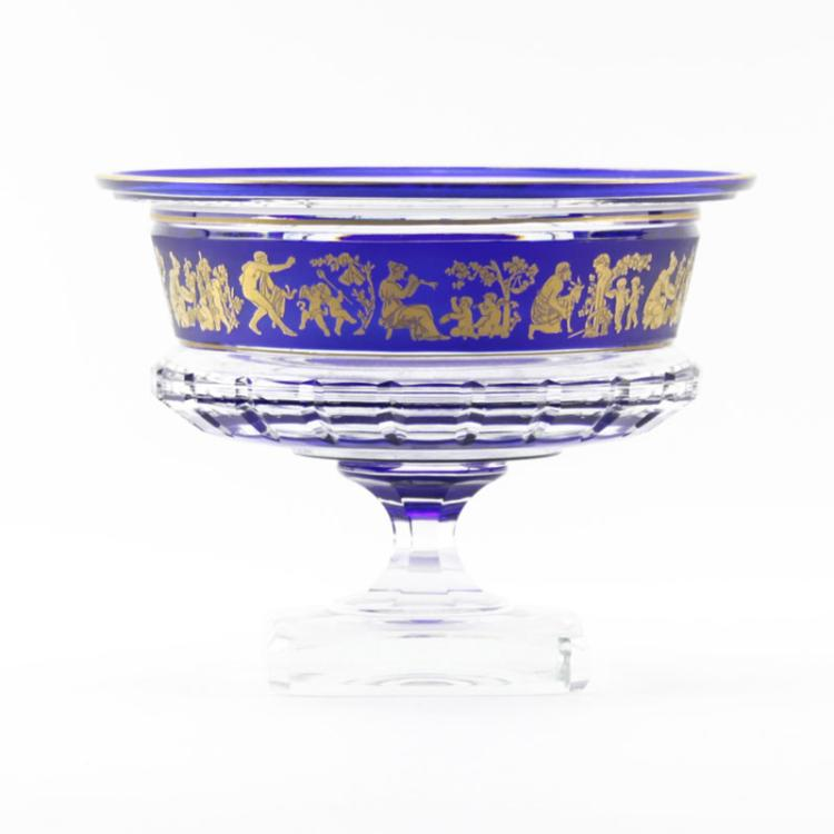 Circa 1930s Val St. Lambert Cobalt to Clear Borodine Compote.