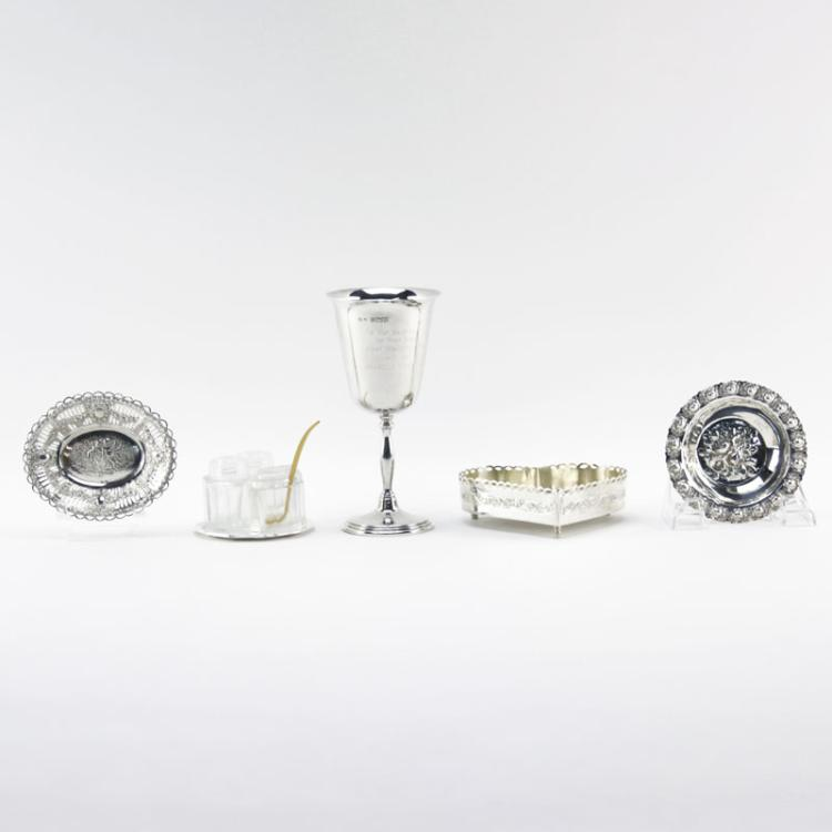 Grouping of Five (5) Vintage Silver and Silver plated Tabletop Items
