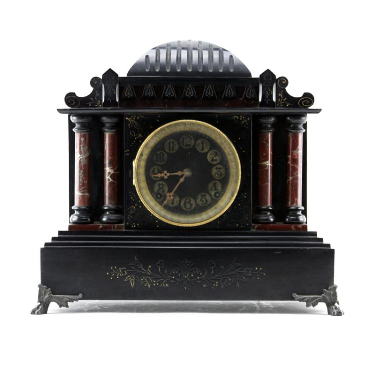 19/20th Century Victorian Style Slate Mantle Clock