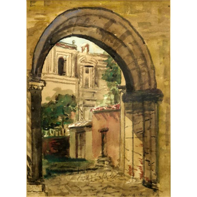 20th Century Antigua Guatemalan Watercolor
