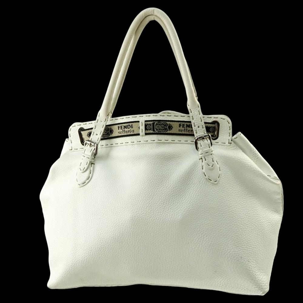 0d6b3a6926 Fendi White Leather Selleria Tote Horse Bag