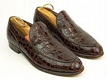 Man's Vintage Pair of Alligator Loafers. Illegibly Signed. Good Used Condition with Trees. Size 7-1/2 D. Shipping $44.00