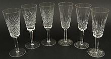 Assembled Set of Six (6) Waterford Cut Crystal Champagne Flutes (two patterns, three each). Etched Signature to Each. Good Condition. Measure 7-1/4 Inches Tall and 2-1/2 Inches Wide at Rim. Shipping $48.00