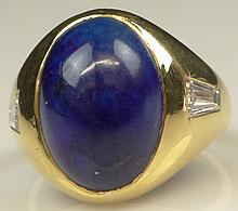 Vintage Italian Bulgari Lapis Lazuli, Diamond and 14 Karat Yellow Gold Ring.  Good Condition. Ring Size 7-1/2. Approx. Weight: 8.35 Pennyweights. Shipping $26.00