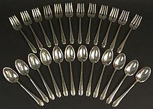 Twenty Four (24) Piece International Silver Sterling Silver Dessert Service in an Art Deco style Pattern Including Twelve (12) Dessert Forks and Twelve (12) Teaspoons. Signed. Good Condition or Better. Fork Measures 6-1/4 Inches Long. Shipping $48.00