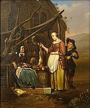 Follower of Gabriel Metsu, Dutch (1629-1667) Oil on Canvas Laid down on Panel