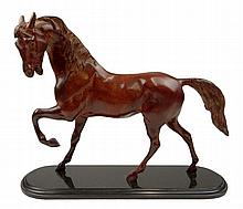 Contemporary Bronze Horse Scupture on Granite Base. Unsigned. Good Condition or Better. Measures 13-1/2 Inches Tall and 16-1/2 Inches Long. Shipping $86.00