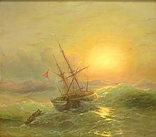 Attributed to: Ivan Konstantinovich Aivazovsky, Russian (1817-1900) Oil on Canvas, Sunset on the Seas.