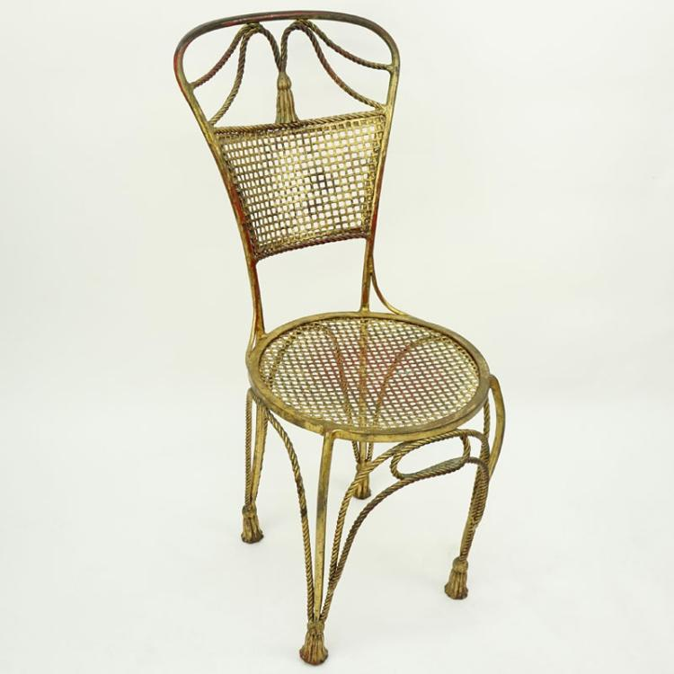 mid century louis xv style gilt wrought iron side chair. Black Bedroom Furniture Sets. Home Design Ideas