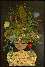 """Carlos Perteagudo (b. 1937) Oil on canvas """"Girl With Parrot Hat"""" Signed lower right. Good condition. Measures 35"""" x 25"""", frame measures 45"""" x 32-1/2"""". Shipping: Third party"""