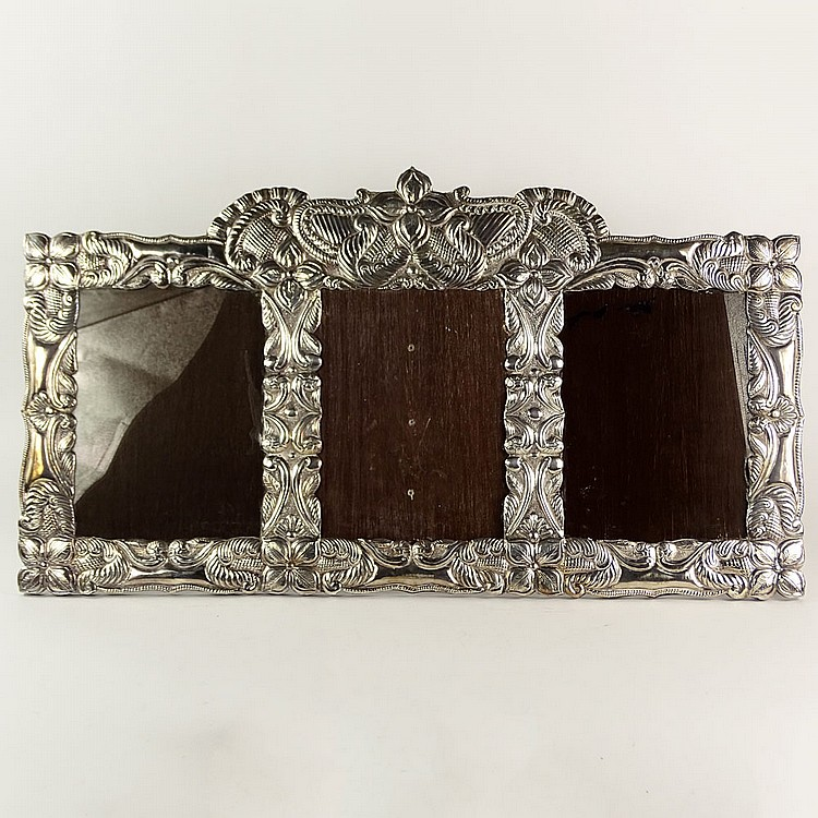 Vintage Sterling Silver Triptych Large Picture Frame Unsign