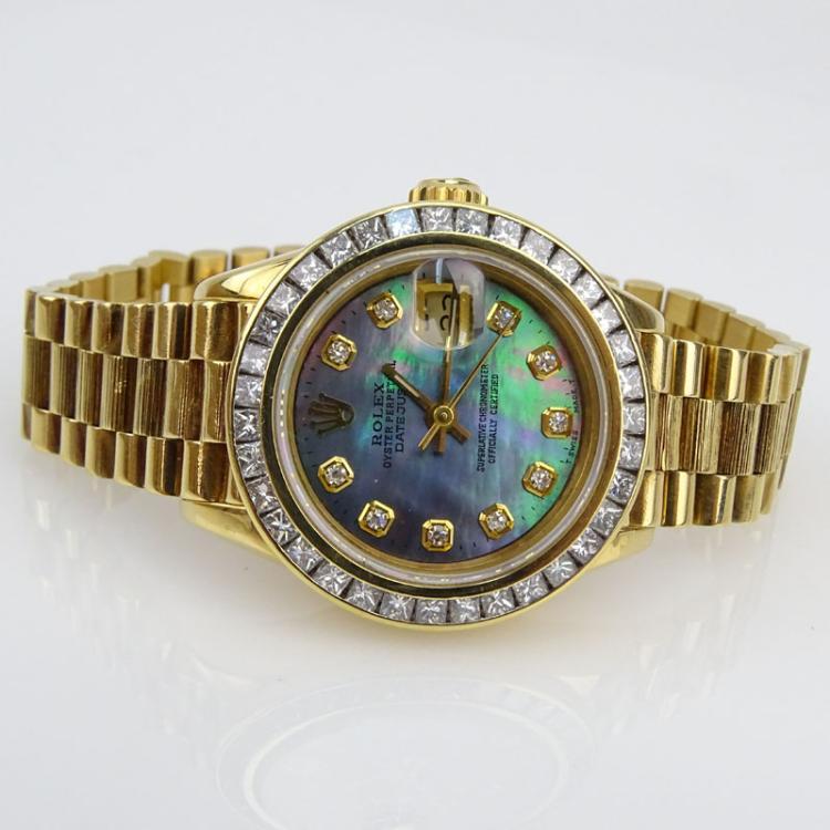 lady 39 s rolex 18 karat yellow gold date just bracelet watch. Black Bedroom Furniture Sets. Home Design Ideas