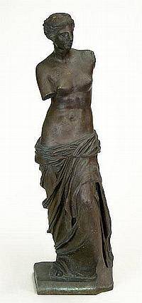"""Ron Liod Sauvage French (19th/20th Century) Bronze Sculpture """"Venus de Milo"""" after the Antique. Signed Ron Sauvage. Scratching, Wear to Patina or else Good Condition. Measures 22-1/2 Inches Tall. Shipping $130.00"""