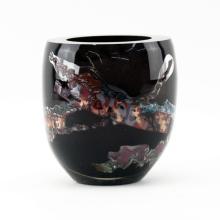 Modern Black and Colorful Art Glass Vase