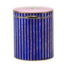 Vintage Italian Guilloche Enamel and Silver Round Box Signed Italy 925