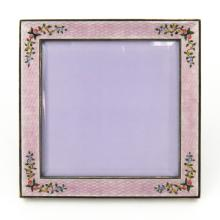 Vintage Italian Guilloche Enamel and Silver Frame