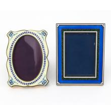 Two Vintage Italian Guilloche Enamel and Silver Frames