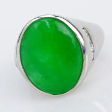Man's Vintage Cabochon Jade and Platinum Ring accented with Small Round Cut Diamonds